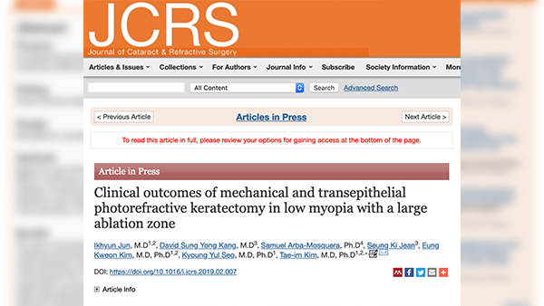 "[paper] The 47th SCI paper_JCRS ""Trans-PRK in low diopter"""